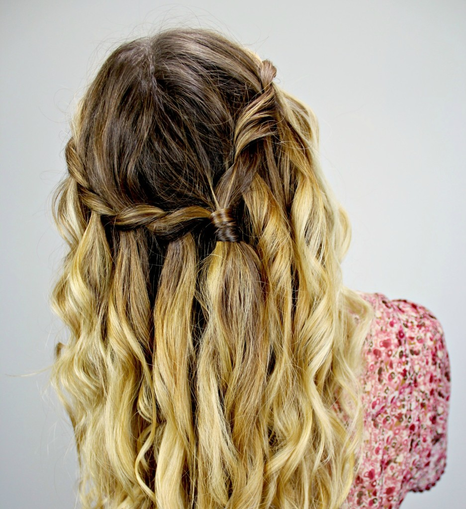 Waterfall braid hairstyle 18