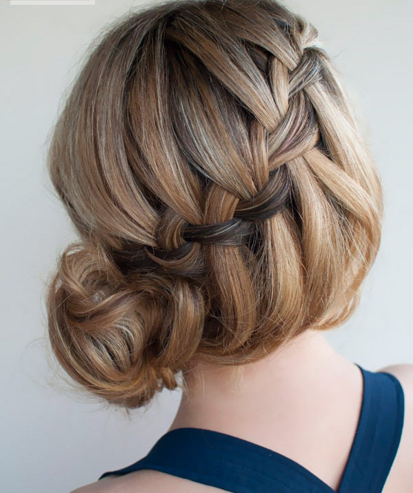 Waterfall braid hairstyle #19