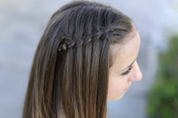 Waterfall braid hairstyle #2
