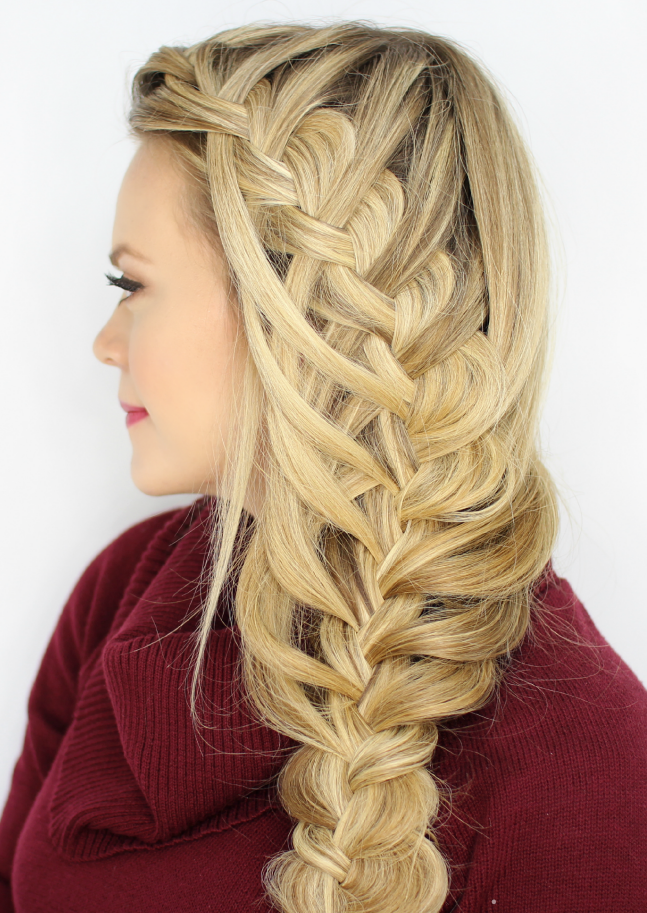 Waterfall braid hairstyle #22