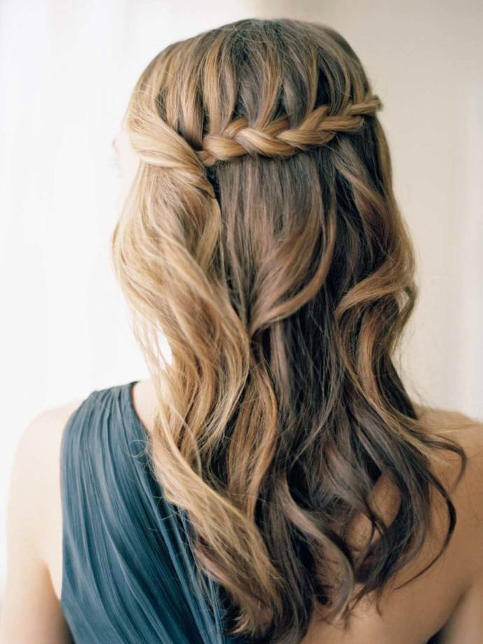 Waterfall braid hairstyle #23