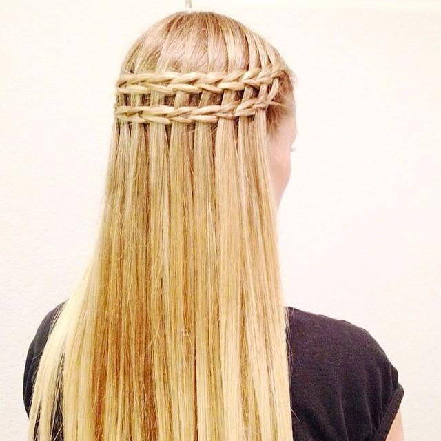 Waterfall braid hairstyle #24