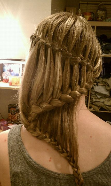 Waterfall braid hairstyle #25