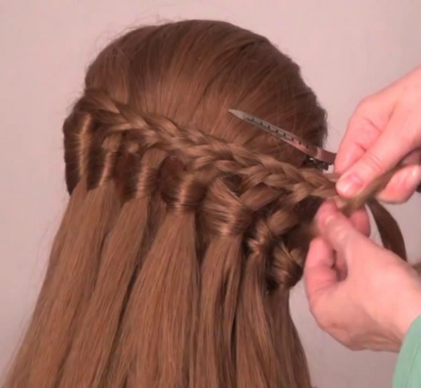 Waterfall braid hairstyle #26