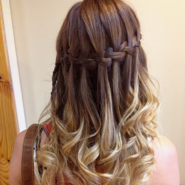 Waterfall braid hairstyle #3