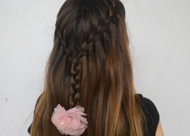 Waterfall braid hairstyle #4