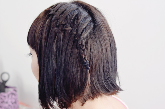 Waterfall braid hairstyle #5