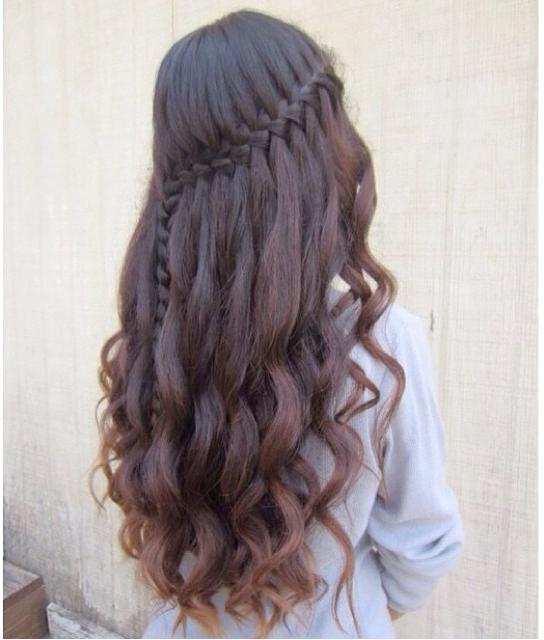Waterfall braid hairstyle #6