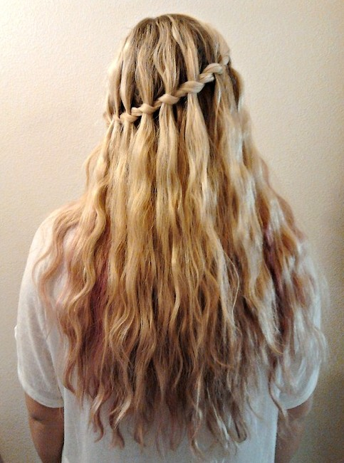 Waterfall braid hairstyle #9