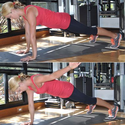 Plank with lateral arm raise