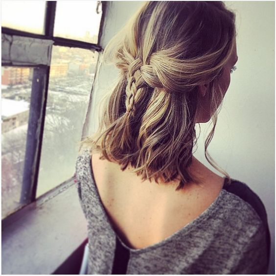 Cute Middle Braid On Short Hairs