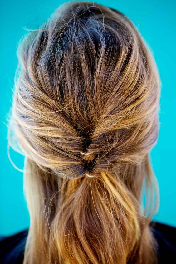 Double flipped ponytail for medium length hairs