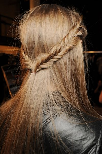 Double side fishbone plait hairstyle
