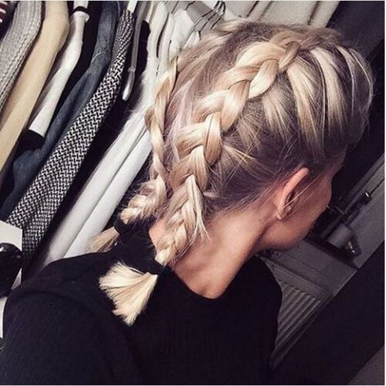 Double top-back braid for medium hair length