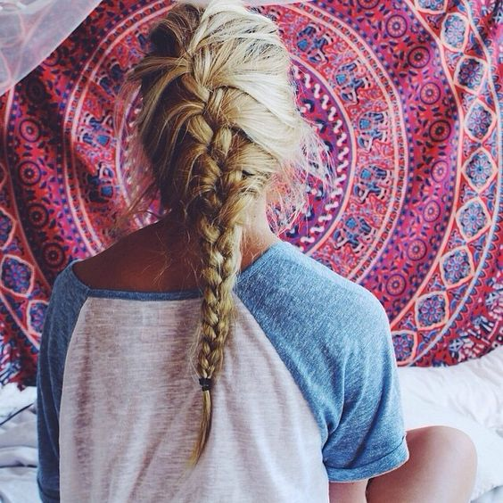 Long back braid style