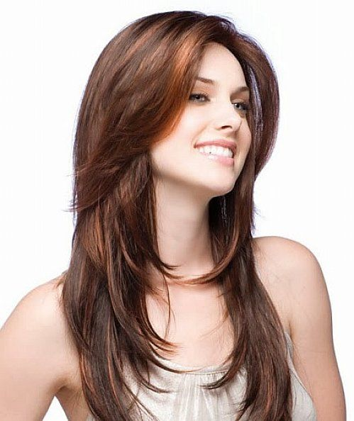 Long layered haircut for looking thinner