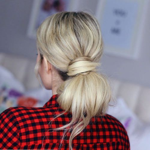 Low tied bun for everyday