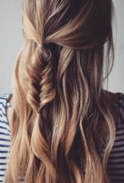 Middle fishbone plait for long hairs