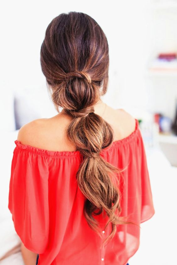 Middle tied braid hairstyle for long hairs