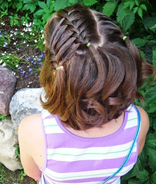 Multiple front waterfall braiding for small girls