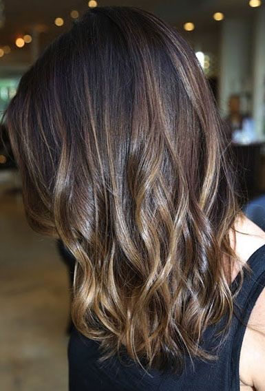 Ombre highlights on dark hairs