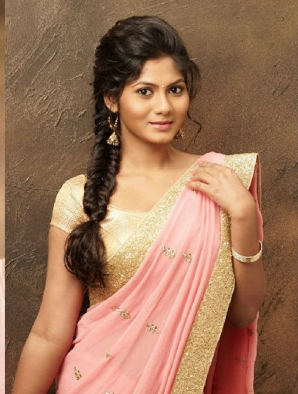 simple plait hairstyle for designer wedding saree