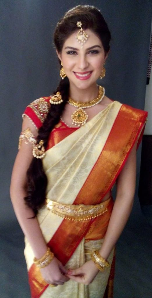 Puffed braided hairstyle for pattu sarees