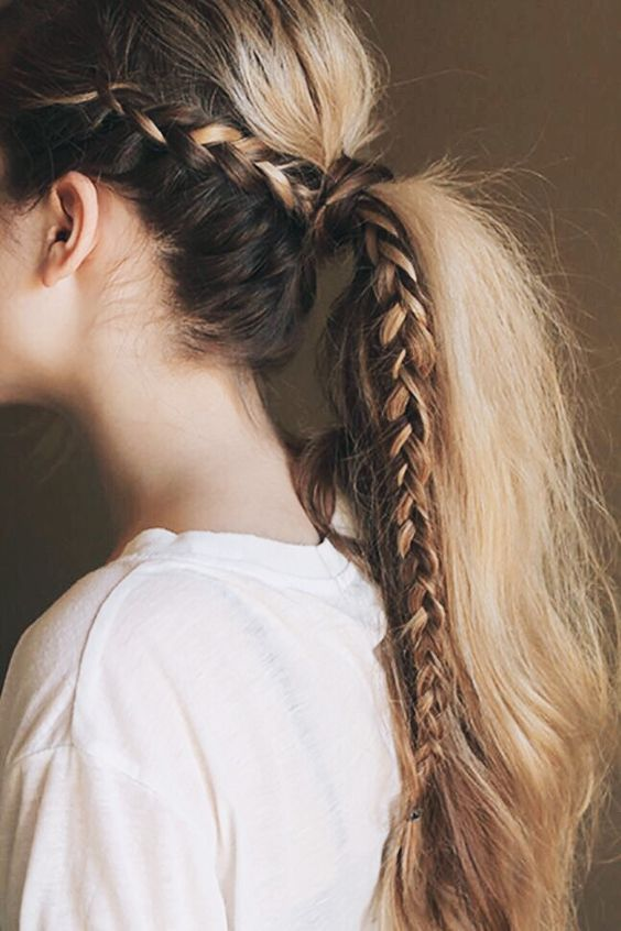 Side braid hairstyle with horse tail