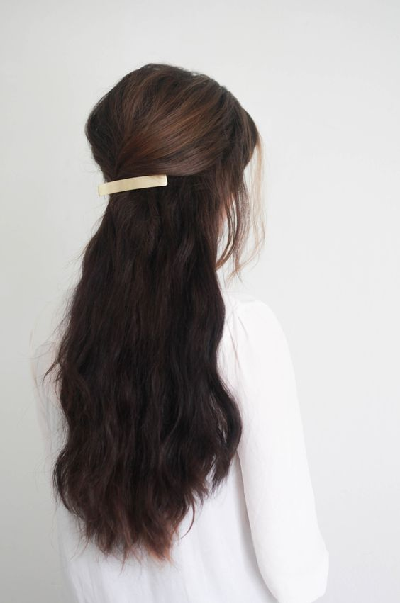 Simple back pinned hairdo for long hairs