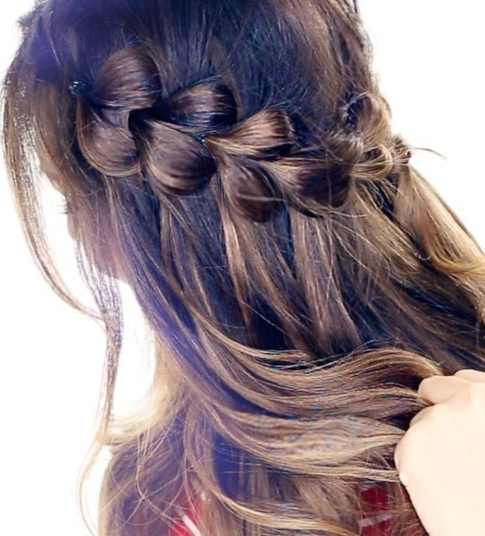 Unique waterfall braid hairstyle