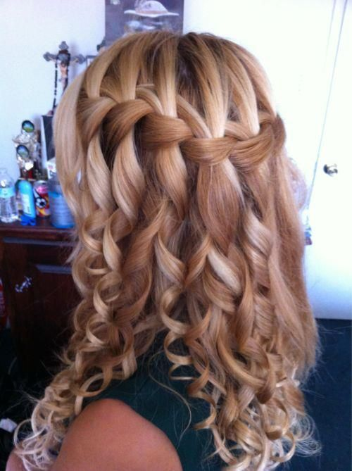 Waterfall braid with curls for college fest
