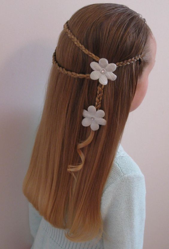 Waterfall braiding with floral accessory for small girls