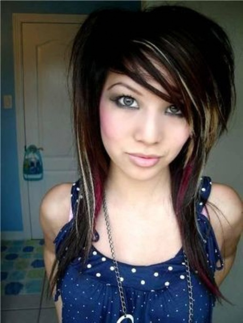 Emo hairstyle with multicolor chunky highlights