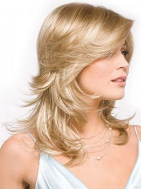 Feather bob blond medium hairstyle
