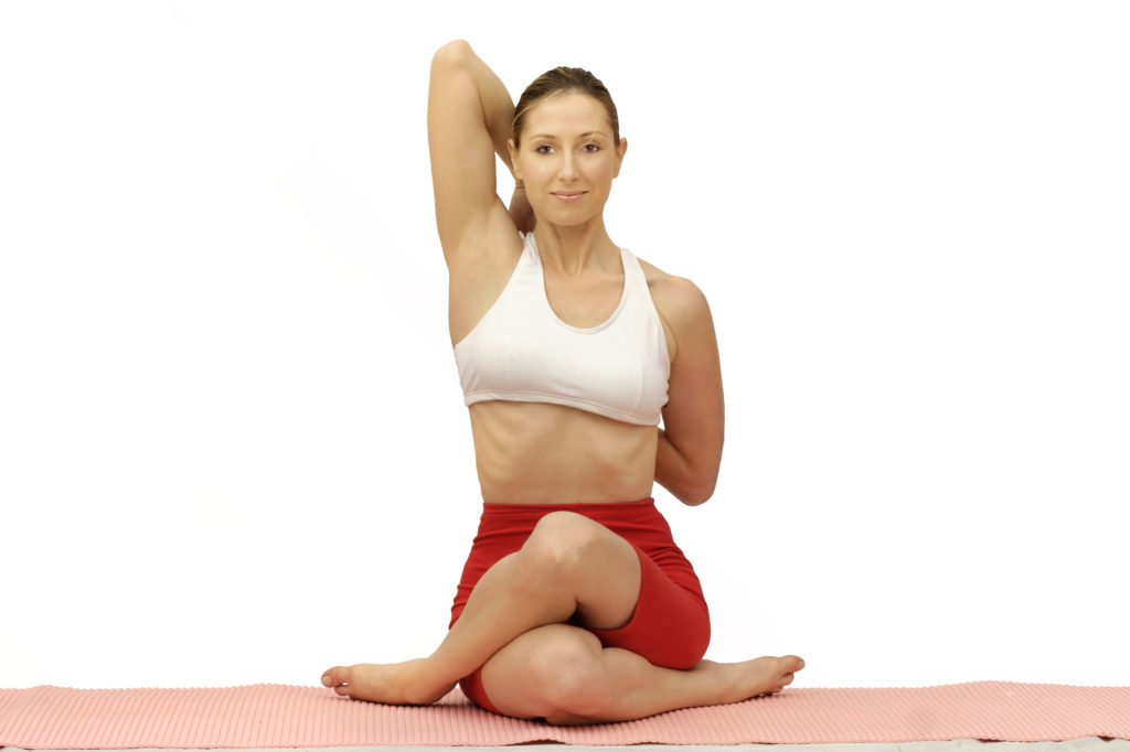 Gomukhasana or cow faced pose