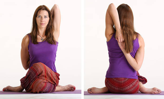 Gomukhasana or the cow faced pose