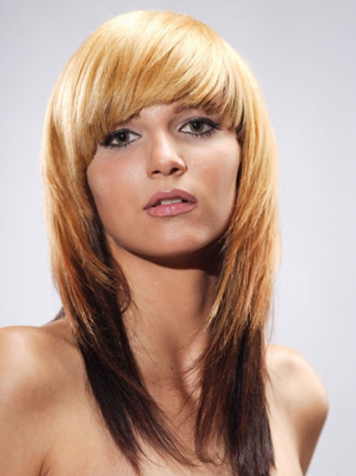 Layered feather cut with front bangs