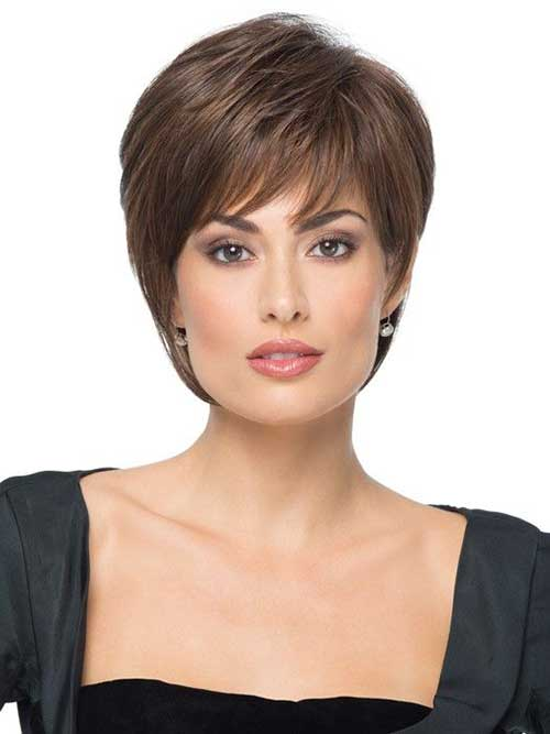 Short feather cut with bangs