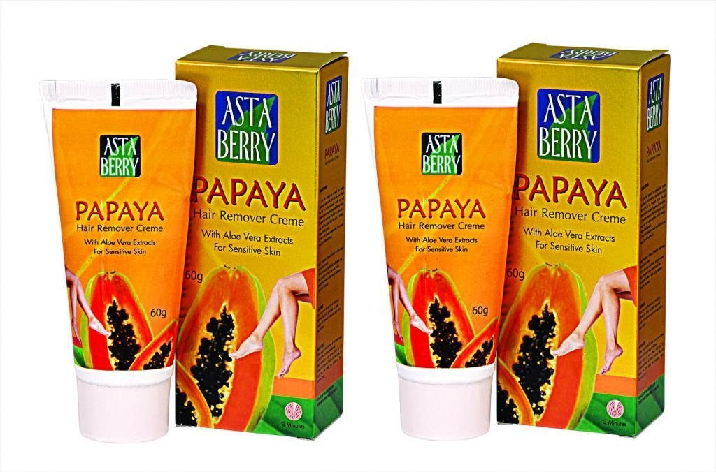 Astaberry Papaya Hair Remover Crème (60 gms)- Pack of 2