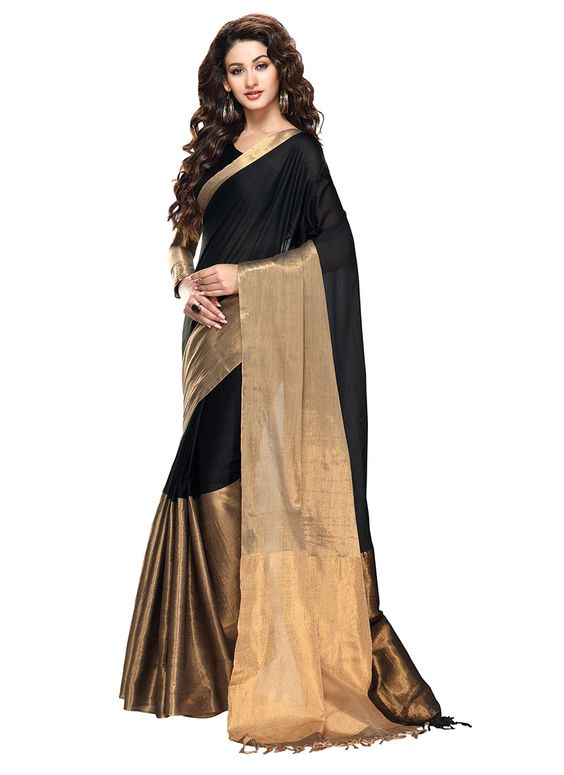 Black silk saree with half golden border