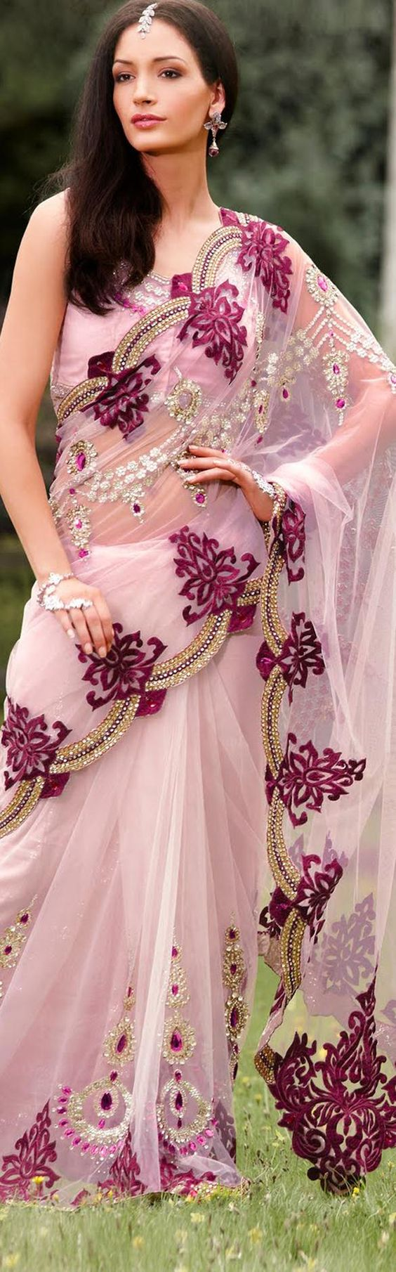 Designer net saree with stonework border