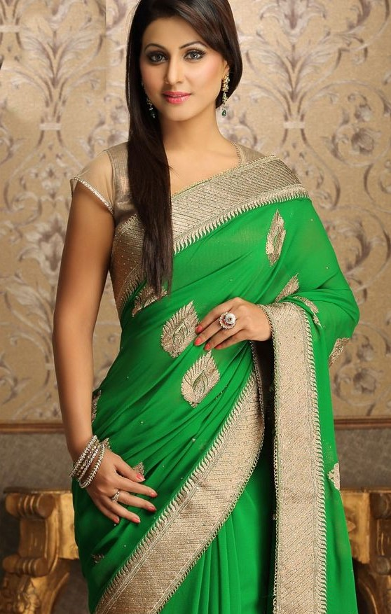 Designer saree in green and golden
