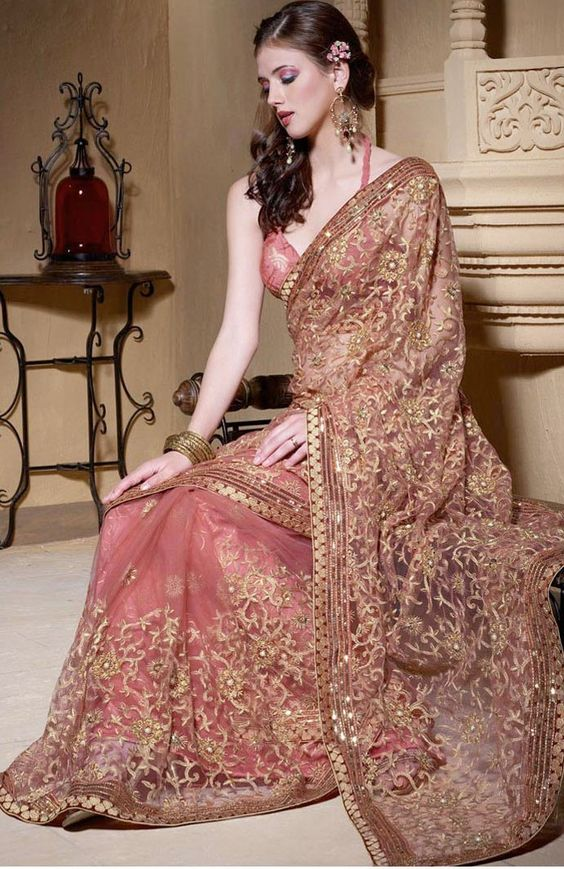 Embroidered partywear saree on net