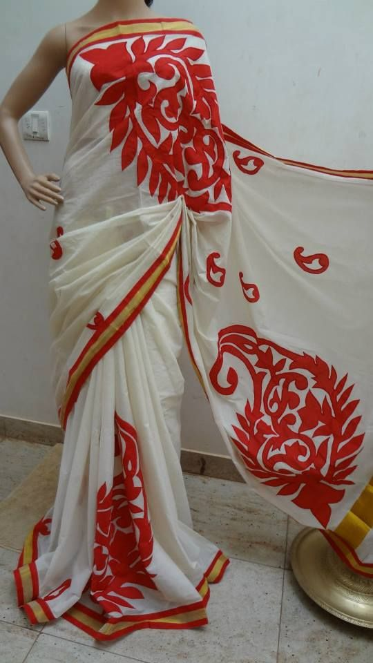 Kerala cotton saree with appliqué work