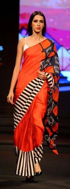 Printed orange bangalore silk saree