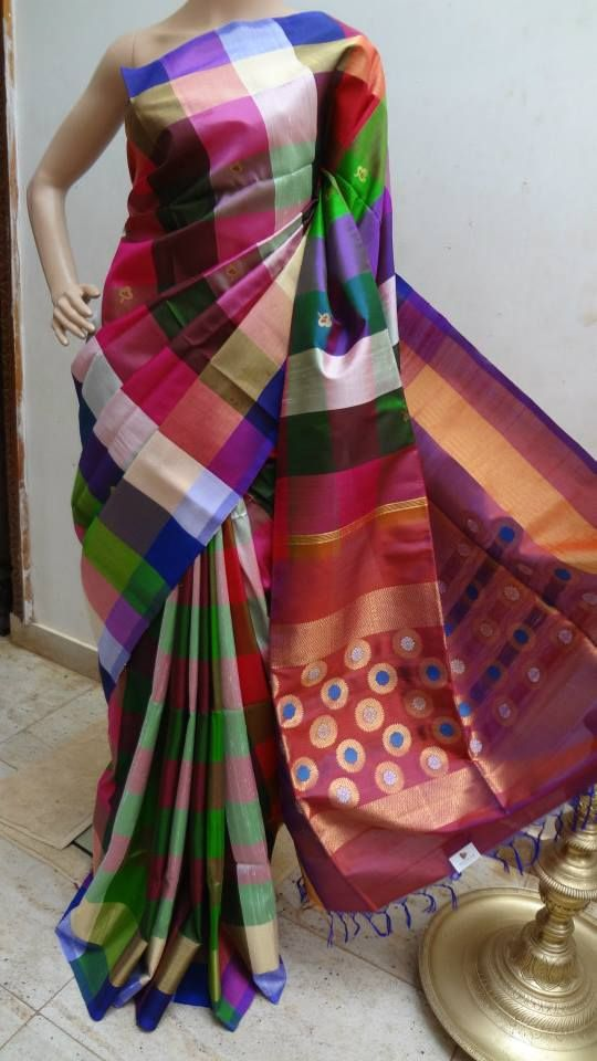 Raw silk multicolor check saree