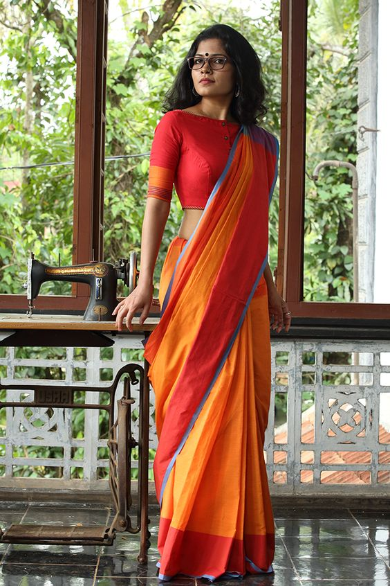 Single color cotton saree with double border