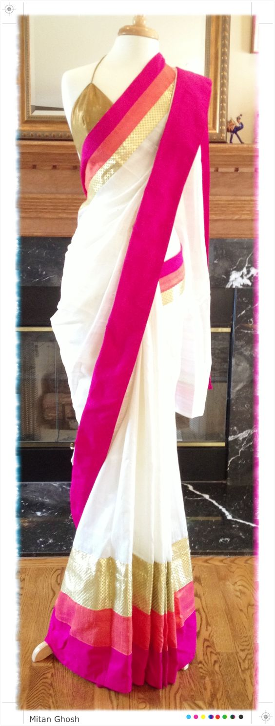 White silk saree with multicolored border