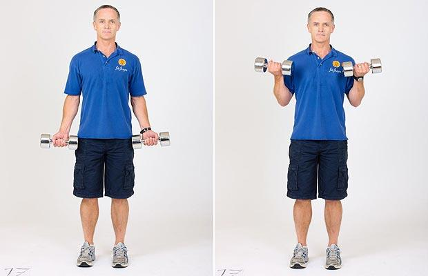 Bicep curls with dumbbells