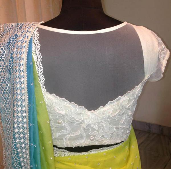 White net back blouse design